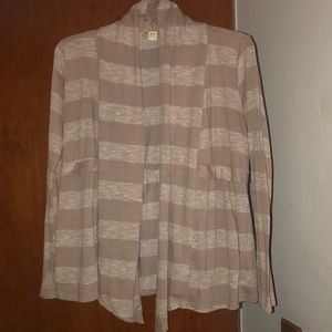 Brown striped cardigan with bow in the back